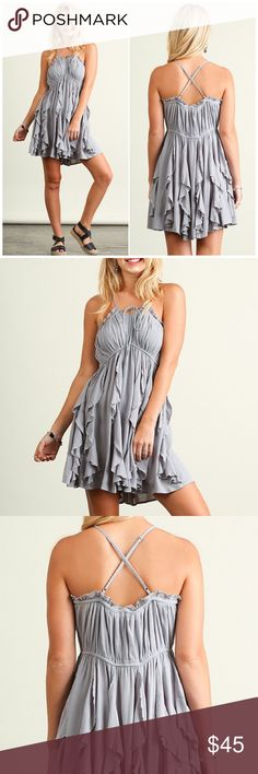"""Umgee Gray Fit & Flare Dress Adorable and sexy Sleeveless Fit & Flare dress with ruffle pleats. Pair them with your favorite sandals or cute wedges for a sexier look. Adjustable straps.   60% cotton; 40% polyester   Fits true to size   Color Gray  Small( 2/4): Bust 34-36"""", Waist & Hips: Loose fit, Side seam( armpit to bottom hem): 24"""" Medium( 6/8): Bust 36-38"""", Waist & Hips: Loose fit, Side seam( armpit to bottom hem): 25"""" Large( 10/12): Bust 38-40"""", Waist & Hips: Loose fit, Side seam(…"""