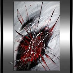 RED BLACK Abstract Painting Black and white Art by largeartwork