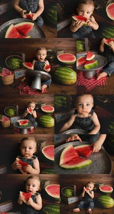 What to do if your baby has food allergies and cake just isn't an option?  Have a fruit smash!  Love this watermelon smash session idea!  First Birthday Fruit Smash
