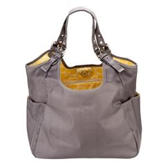 JP Lizzy Slate Citron Satchel - A favorite of all moms because it is large enough to fit the essentials and is the perfect size for carrying on your shoulder.