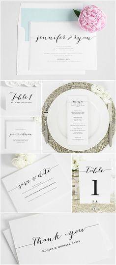 Looking for matching day of wedding accessories like menus, save the dates, ceremony programs, table numbers, thank you cards? Look no further than Shine Wedding Invitations! This is our Flowing Script design day of wedding accessories!