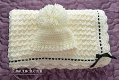 Free Crochet Pattern Baby blanket with Matching Crochet Baby Hat
