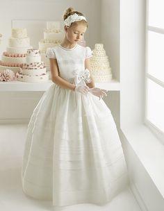 DIGNIFIED ALINE JEWEL SHORT SLEEVE HAND MADE FLOWERS FLOORLENGTH SATIN FIRST COMMUNION DRESSES