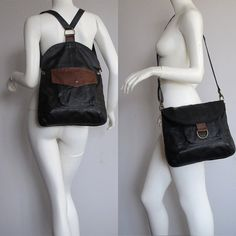 Items similar to BM3 Black double use messenger/ backpack with brown details, UPCYCLED LEATHER on Etsy