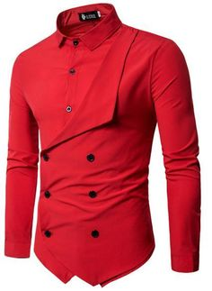 Men Shirt Brand Personality Double-breasted Fake Two Shirt Formal Solid Color Slim Fit Cotton Long Sleeve Dress Shirts Camisa Slim Fit Dress Shirts, Slim Fit Dresses, Fitted Dress Shirts, Long Sleeve Cotton Dress, Long Sleeve Shirt Dress, Long Sleeve Shirts, Shirt Sleeves, Cheap Mens Shirts, Mens Shirts Online