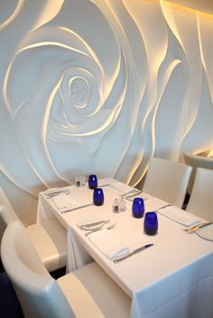 Blu Restaurant at the Celebrity Equinox Cruise Ship (Celebrity Cruises) designed by Tihany Design, 5 Design, BG Studio, Wilson Butler Architects and RTKL - Valérie Landrault - Plaster Sculpture, Plaster Art, Plaster Walls, Restaurant Design, Cafe Restaurant, 3d Wall Art, Wall Murals, Ceiling Design, Wall Design