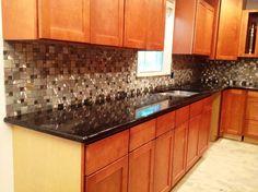 black countertops with backsplash | black granite glass tile mixed