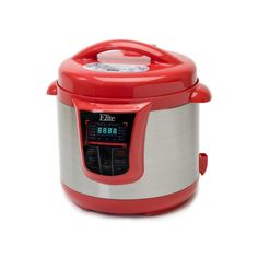 Elite Platinum 8-qt. Stainless Steel Electric Pressure Cooker, Red