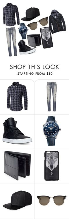 """""""Ashes date outfit"""" by vampgirl01 ❤ liked on Polyvore featuring Denham, Supra, OMEGA, Dockers, Marcelo Burlon, Gents, Tom Ford, men's fashion and menswear"""