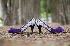 Purple Wedding Shoes - Purple Bridal Shoes, Wedding Heels with Ivory Lace. US Size 7.5