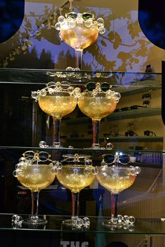 Diamonds and champagne... unique #eyewear display