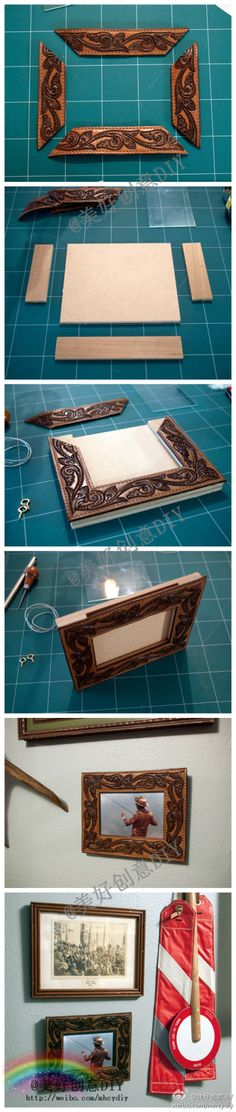 Make a picture frame from a leather belt.