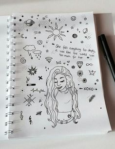 The way the symbols relate to the drawing of the girl. The quote is rea… The way the symbols relate to the drawing of the girl. The quote is really nice. It's so simple but powerful Hipster Drawings, Tumblr Drawings, Bff Drawings, Pencil Art Drawings, Art Drawings Sketches, Easy Drawings, Notebook Doodles, Doodle Art Journals, Art Journal Inspiration