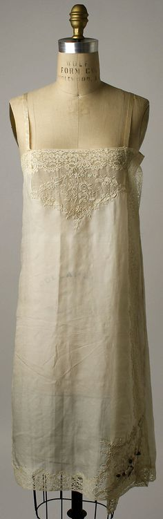 Wedding lingerie Date: 1927 Culture: French Medium: silk, cotton, metal Dimensions: (a) Length at CB: 32 1/4 in. (81.9 cm) (b) Length at CB: 2 1/4 in. (5.7 cm) (c) Length at CB: 19 1/2 in. (49.5 cm) Credit Line: Gift of Mrs. Elisha Dyer, 1959 Accession Number: C.I.59.8.1a–c