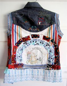 SUNDAY Day of Week Vintage Linen Wearable COLLAGE Clothing Art  Vintage Linens Embroidered DENIM   Rear View by mybonny