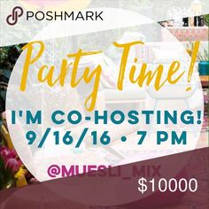 🎉CO-HOSTING MY 1st POSH PARTY 9/16/16!!!! 🎉 Join me Friday, 9/16/16, 7-9pm PT, as I co-host my very first Posh Party!!! Theme: TBA, Co-Hosts: TBA.🌟 Looking for Host Picks from Posh compliant closets. Please tag your PFFs and share your favorite closets to help me in my search for great fashion!! Thanks so much for your support!! Can't wait to party with you all!!! 🎉 Other