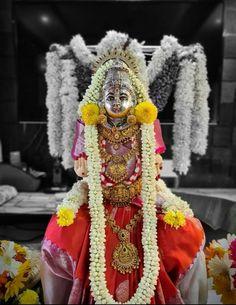 Festival Decorations, Flower Decorations, Ganapati Decoration, Pooja Room Door Design, Pooja Rooms, Goddess Lakshmi, God Pictures, Amman, Indian Gods