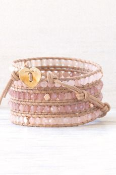 Valentine's Day Collection   Pink Mix Wrap Bracelet on Beige Leather
