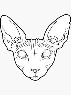 'Sphynx Cat' Sticker by Natasha Sines Cat tattoo – Fashion Tattoos Art Drawings Sketches, Tattoo Sketches, Tattoo Drawings, Tattoo Outline Drawing, Sphynx Cat Tattoo, Posca Art, Tattoo Flash Art, Tattoo Art, Cat Stickers