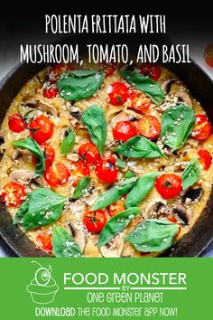Polenta Frittata With Mushroom, Tomato, And Basil!
