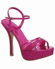 Shoes High Heels glitter sandals platform strappy Fuchsia Pink Metallic size 8