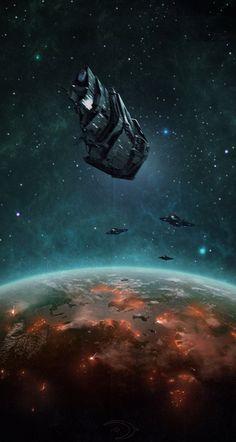 "UNSC ""Pillar of Autumn"" in Reach Orbit with Longsword Strike Fighters"