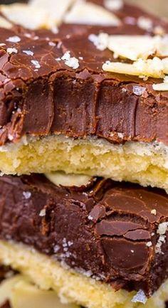 Almond Fudge Shortbread Bars - Baker by Nature Sweet Desserts, Just Desserts, Sweet Recipes, Delicious Desserts, Yummy Cookies, Yummy Treats, Sweet Treats, Bar Cookies, Cookie Recipes