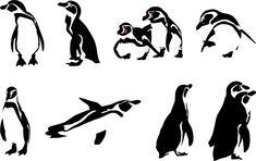 フリーイラスト 8種類のフンボルトペンギンのセット