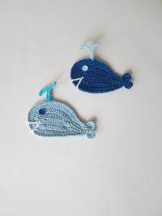 Crochet whale applique set of 2Crochet Sea Creatures by MILAVIKIDS, $4.75