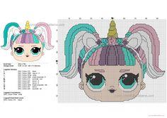 Unicorn delle Lol Surprise Doll schema punto croce gratis 96x74