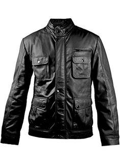 Men Mens Leather Jacket LFC429 LEATHER FARM X