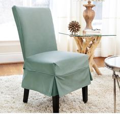Twill Mid Pleat Relaxed Fit Dining Chair Slipcover With Buttons