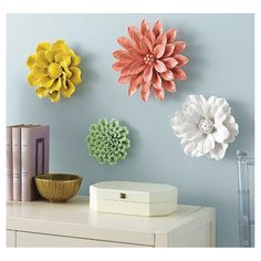 Ceramic Flower Wall Decor set of three large sized flowers of your choice | them, large and
