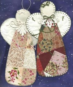 Patchwork and felt Christmas Tree decorations. Quilted Ornaments, Diy Christmas Ornaments, Christmas Angels, Handmade Christmas, Christmas Fun, Vintage Christmas, Christmas Decorations, Paper Ornaments, Outdoor Christmas