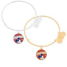 Mickey is just one of the stars featured on this charm with its patriotic red, white, and blue design. Created by Alex and Ani, this all-American bracelet is available in a choice of gold or silver finishes.