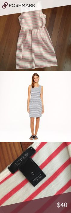 J. Crew. stripe dress Worn a few times. Super comfortable! Cotton with a bit of stretch. Slight A-line. Similar style to the dress in 2nd pic. J. Crew Dresses