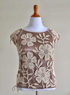 Irish Crochet Petal Flower Top by Natalia Kononova. https://s-media-cache-ak0.pinimg.com/originals/43/fd/34/43fd34e772f9b20a20b6e7d25442ea71.jpg