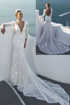 Elegant Lace V-neck Neckline Mermaid Wedding Dresses with Beadings