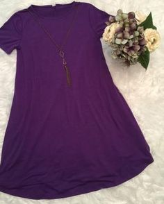 eae025f5d88c41 Women s Purple Top Short Sleeve Pocket Tunic Dress. MomMe and More