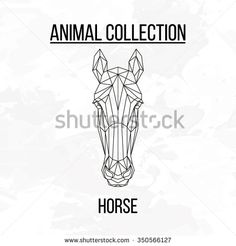 Horse head geometric lines silhouette isolated on white background vintage vector design element illustration