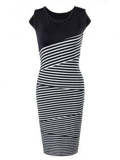 Women Striped Slim Dress Work Cocktail Sleeveless Pencil Dress