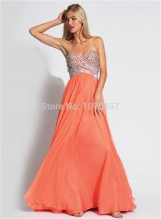 >> Click to Buy << New Arrival Coral Evening Dress 2015 Sparkling Crystal Beaded Dress To Party Elegant Long Chiffon Vestido De Festa MP638 #Affiliate
