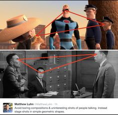 Pixar Story Artist Matthew Luhn on Staging Shots in Simple Geometric Shapes Composition Drawing, Composition Design, Storyboard, Film Tips, Comic Tutorial, Comic Layout, Cinematic Photography, Movie Shots, Perspective Art