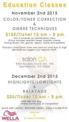 We have 2 classes coming up, our last class sold out fast so HURRY! Call now for more info 916-388-9912 #sacramento #sacramentobeautyschool #sacramentosalons #sacramentostylist #beautysalons #business #hair #beautysupply #hairstyling #stylist #salonowners #beautyschool #beauty #salonstyle #salonlife #behindthechair #salonsupplies #wella #colorcharm #classes #salonca