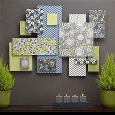 Pretty wall decor.. Take sheets n put them on a canvas and hang.. greens and pink    or frame scrap book back grounds
