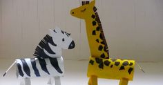 I'm back on the cardboard animal trail - this time my mini maker asked for a zebra and a giraffe to add to the lions we've already made for...