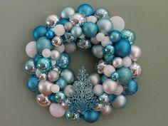 Light blue Christmas bulb wreath