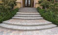 Plaza Stone Rectangle and Square Heritage™ Series Paver Entrance Area and Stone Steps Front Walkway, Front Steps, Front Yard Landscaping, Portland, Outdoor Projects, Outdoor Decor, Outdoor Spaces, Curved Staircase, Backyard