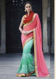 Party Wear Georgette Pink Embroidered Work Saree
