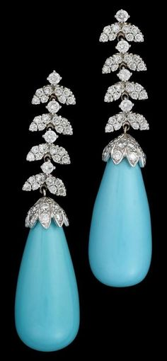 18 karat White Gold, Turquoise and diamond Earrings ca. 1960 ~ Pave diamond set articulated 'vine' motif finishing in a single large turquoise drop, approximately 13.5mm, post backing.
